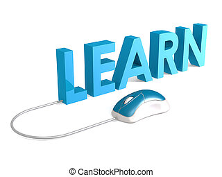 Learn with blue mouse on white