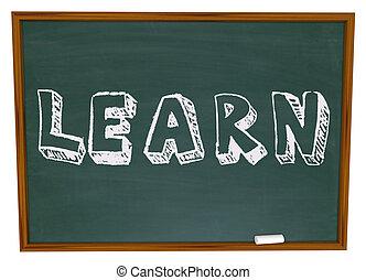 The word Learn written on a chalkboard