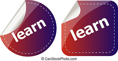 learn word on stickers button set, label