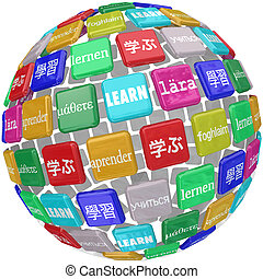 Learn word translated in different languages on a ball of tiles illustrating a world of diverse cultures and dialects