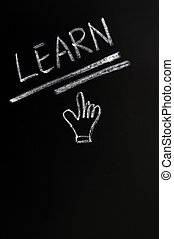 Learn written on a blackboard