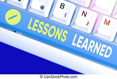 learned., écriture, business, experience., mot, compréhension, texte, ou, connaissance, gained, leçons, concept
