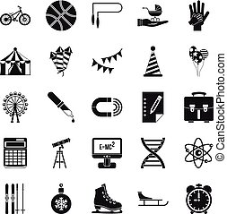 Learner icons set, simple style - Learner icons set. Simple...