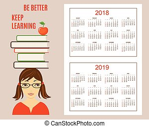 Learning american calendar for wall year 2018, 2019