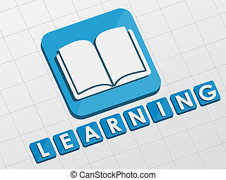 learning and book sign, flat design blocks