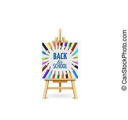 Learning and school education vector concept. Back to school background with 3d colored pencils on wood easel isolated on white background