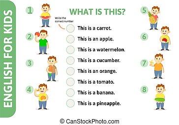 learning., angielski, takty muzyczne, game-card, karta, playcard., character., rysunek, tekst, dzieciaki, wektor, illustration., język, płaski, słowo, nouns