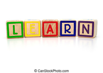 Isolated children's building blocks spelling learn