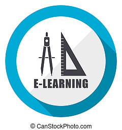 Learning blue flat design web icon