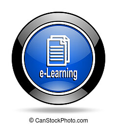 learning blue glossy icon