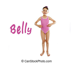 learning body parts school card - full length of girl...