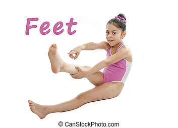 girl wearing a pink swimsuit pointing at her feet on a white background for a school anatomy or body part chart