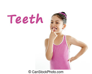 girl wearing a pink swimsuit pointing at her mouth and teeth on a white background for a school anatomy or body part chart