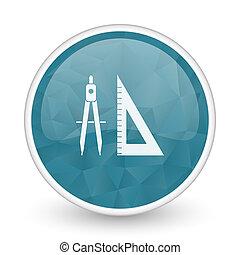 Learning brillant crystal design round blue web icon.