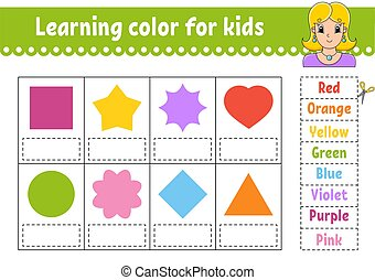 Learning color for kids. Education developing worksheet. Activity page with color pictures. Riddle for children. Isolated vector illustration. Funny character. Pretty girl. Cartoon style.