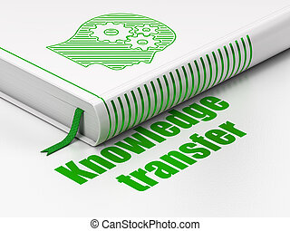 Learning concept: book Head With Gears, Knowledge Transfer on white background