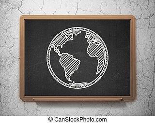 Learning concept: Globe on chalkboard background