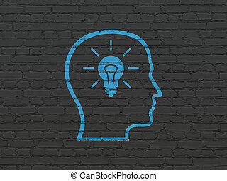 Learning concept: Head With Lightbulb on wall background