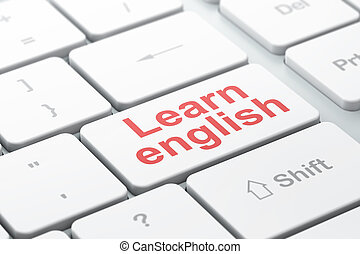 Learning concept: Learn English on computer keyboard background