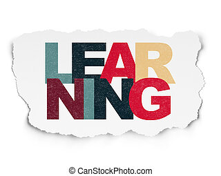 Learning concept: Learning on Torn Paper background