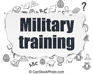Learning concept: Military Training on Torn Paper background