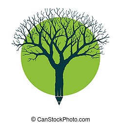 Learning tree. Cute little children climbing on tree with ...
