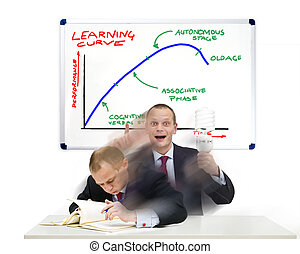 Learning Curve - A businessman, smartly dressed in a suit,...