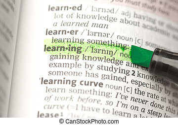 Learning definition highlighted in the dictionary