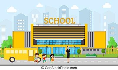 learning., dzieci, piękny, spotyka, chłopcy, nauczyciel, dziewczyna, kobieta, front, kids., szkoła, gmach, młody, autobus, wektor, żółty, illustration., czas przeszły czasownika 'bring'