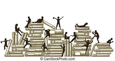 Learning - Editable vector illustration of children reading...