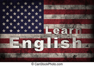 Learning english concept. USA flag