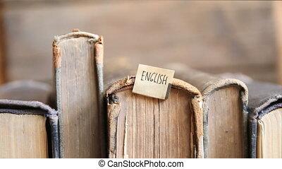 Learning english idea, tag and retro books.