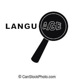 Learning foreign language icon in black style isolated on white background. Interpreter and translator symbol stock vector illustration.
