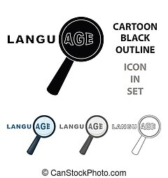 Learning foreign language icon in cartoon style isolated on white background. Interpreter and translator symbol stock vector illustration.