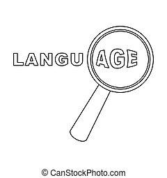 Learning foreign language icon in outline style isolated on white background. Interpreter and translator symbol stock vector illustration.