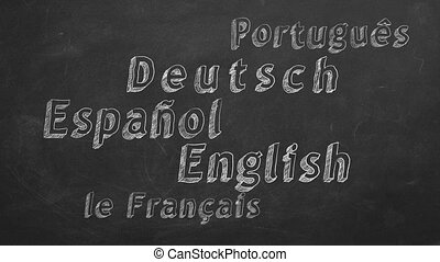 Animated text with different languages on blackboard