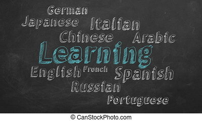 Learning foreign languages - Animated text with different...
