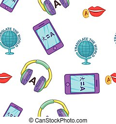 Learning foreign languages pattern, cartoon style