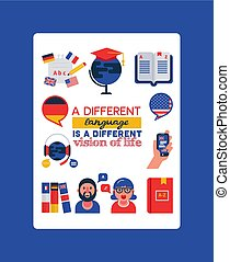 Learning foreign languages vector illustration with typography. Translation, cartoon character and dictionary, foreign language interpretation process. Mobile technology, foreign flags, globe