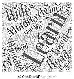 Learning how to Operate a Motorcycle Word Cloud Concept