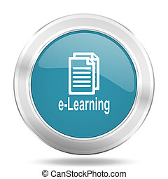 learning icon, blue round glossy metallic button, web and mobile app design illustration