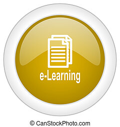 learning icon, golden round glossy button, web and mobile app design illustration