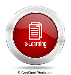 learning icon, red round glossy metallic button, web and mobile app design illustration