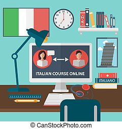 Learning Italian Online. Online Training Courses. Italian Language School. Online Education. Vector illustration