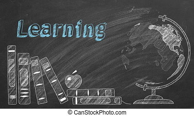 Lettering LEARNING, rotating globe and school books are drawn with chalk on a blackboard.