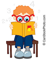 Confused boy reading from book about mathematics