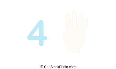 Learning numbers on fingers of hands. Counting and human hands, education for children. Educational games for preschool kids. Animation