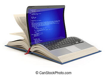 Learning of programming language Javascript, PHP, CSS, XML, HTML. Laptop and book with programming code on the screen.