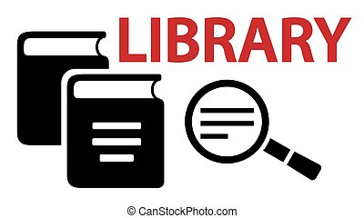 learning on library concept symbol with book and magnifier...