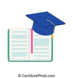 learning online open book graduation hat education